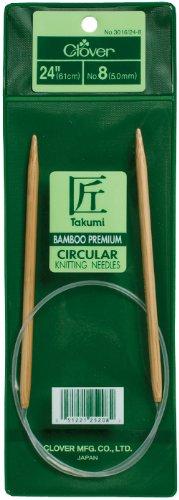 Clover 3016/24-13, Takumi Bamboo Circular 24 inch Knitting Needles, Size 13