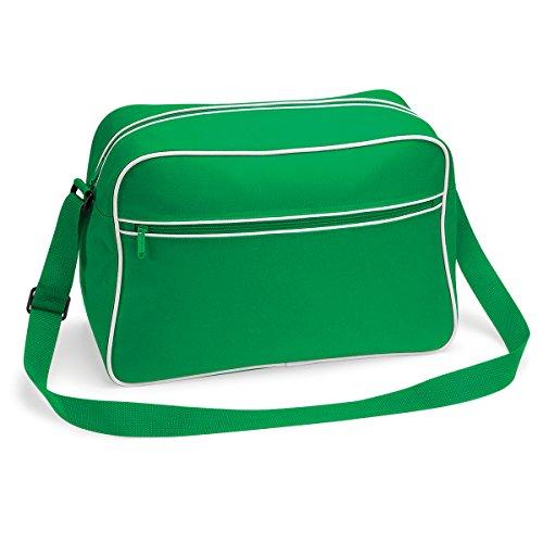 Bolso BagBase regulable con bandolera retro 48x28x18cm 18L brillante blanco real Pure Green/ White