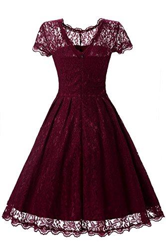 gigileer vestido para mujer a-line vestidos Scroop cuello encaje camisa casual fiesta boda granate