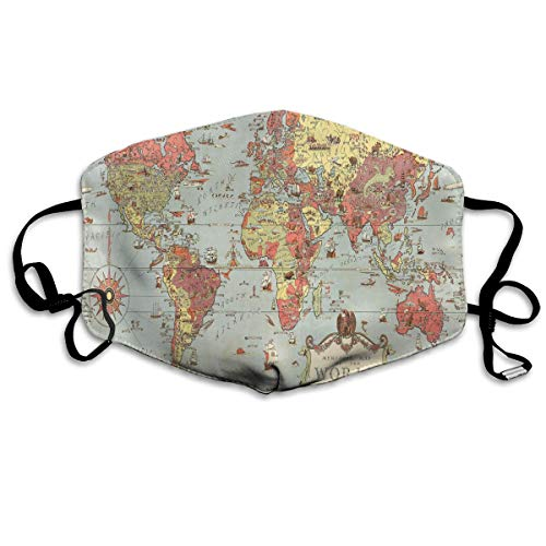 Face Mask Kids Vintage World Map Customized Cycling Half Face Earloop Face Mask for Boys