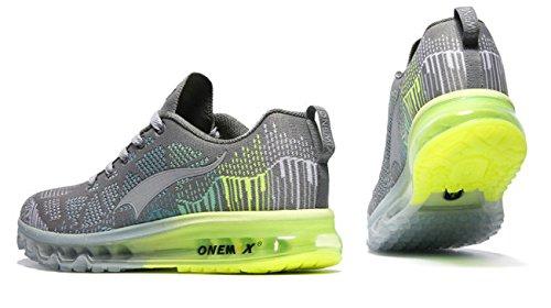 Onemix Air Zapatos para Correr en Montaña y Asfalto Aire Libre y Deportes Zapatillas de Running Padel para Hombre Gris