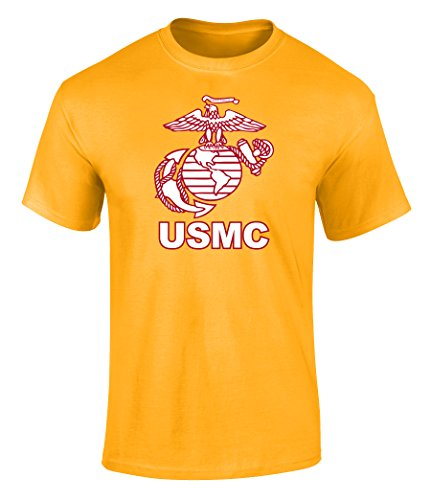 US Marines Eagle Globe Anchor Men's T Shirt Made In USA USMC Licensed Gold Large Marines Mens Tee