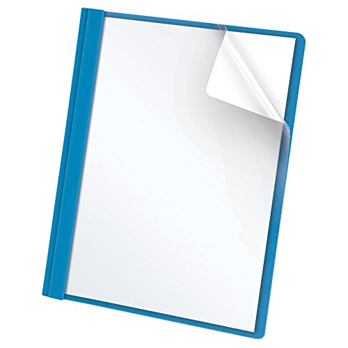 Oxford Clear Front Report Covers, Letter Size, Light Blue, 25 per Box (55801EE)