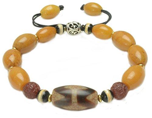 Elegant Tibetan Tiger Tooth Dzi Bead Amulet Bracelet with Oval Yellow Jade Beads, - Feng Shui Buddhist ()