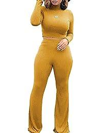 72fa336e2f7c Women 2 Piece Outfit Turtleneck Ribbed Knit Crop Top Wide Leg Long Pants  Set Jumpsuit