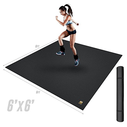 Ultra Fitness Gear Extra Thick 6×6 Exercise Mat. Perfect Workout Mat Any Home Gym Fitness Center. Anti-Microbial Fitness Mat Yoga, Weight Training & Stretching!