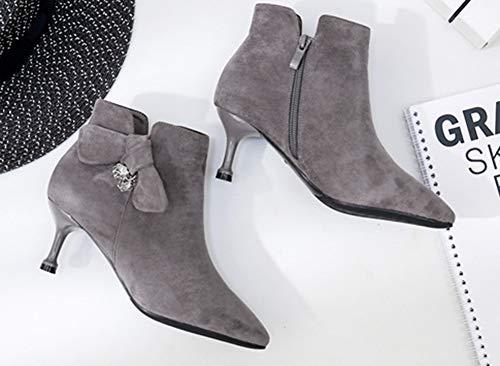Pointu Bout Noeud Soirée Femme Bottine Elégant Chaussures De Gris Aisun IqOaPw
