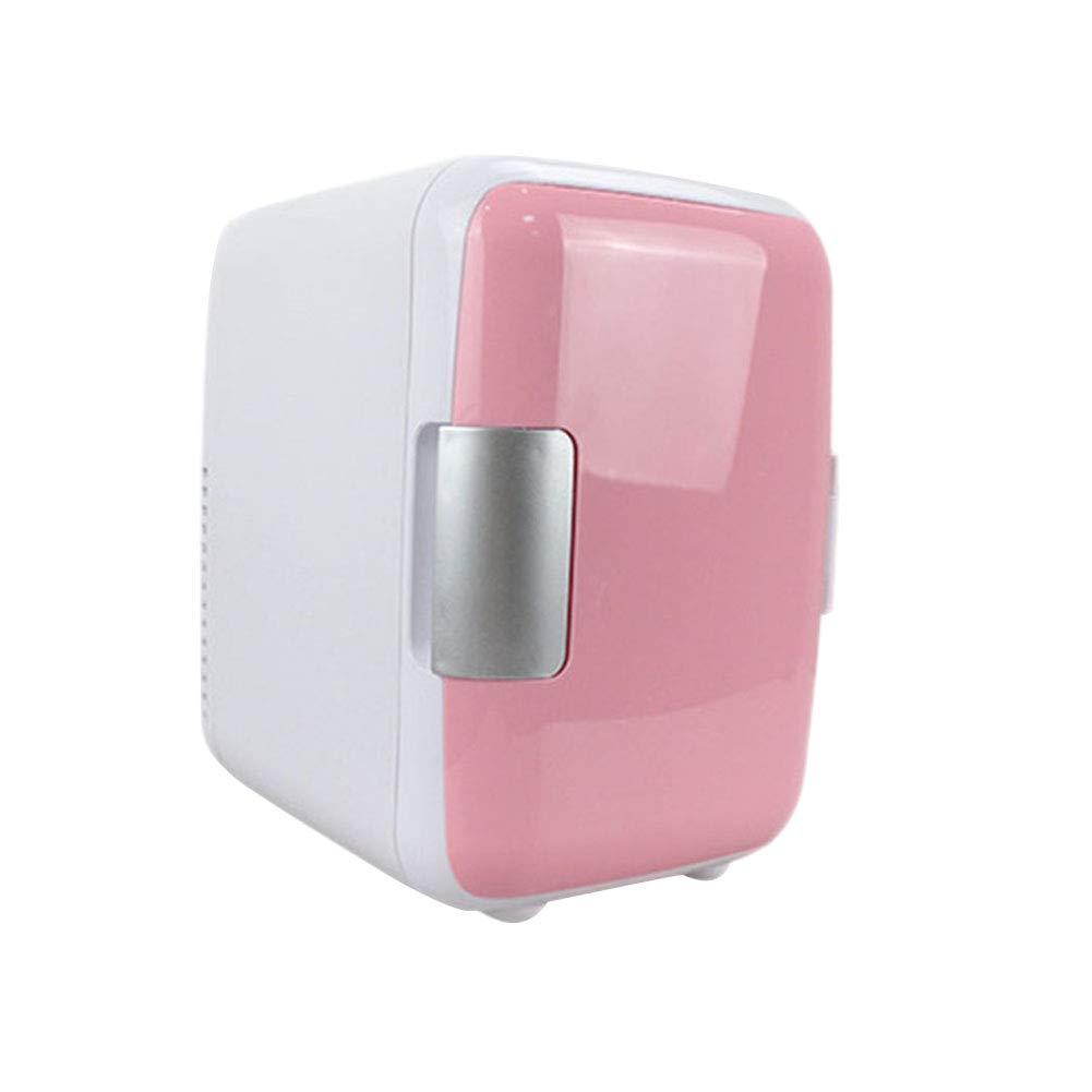 HM&DX Portable Mini Fridge Freezer Cooler Warmer 6 Cans Quiet Mini Refrigerator Compact Energy Star Car Dorm Room Office-pink 4L