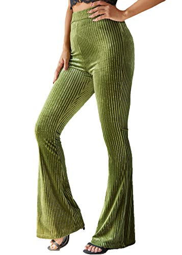 Sofkiny Women's Solid Flare Leg Velvet Pants High Waist Palazzo Long Pants Trousers
