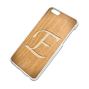 Letter E Wooden Engraving Slim Fit Hard Case Fits Apple iPhone 6