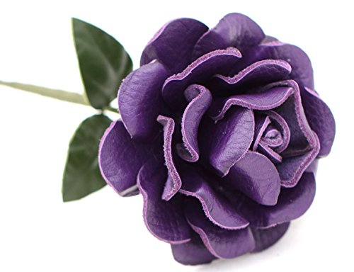 Small Long Stem Purple Leather Rose, Handmade Third Wedding Anniversary Gift