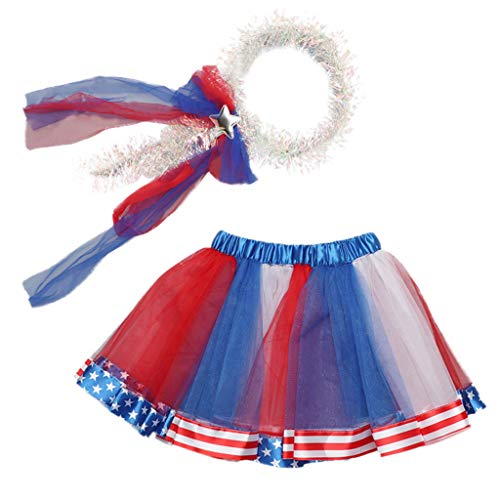 Girls 4th of July Star Tutu Skirt Baby Party Dance Ballet+Headband Outfit Set by-Leegor Blue -