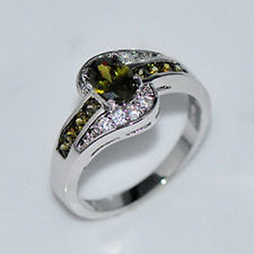 jacob alex ring Green Peridot Gem 10KT White Gold Filled Engagement Ring Women Jewelry Size6