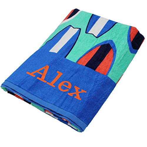 Personalized Beach Towels, Monogrammed Gifts for Kids, Her, Him, Custom Embroidered Towel (Surfboards) (Embroidered Beach Towels)