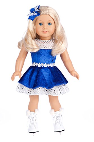 - Ice Dancer - 3 piece outfit - Blue Leotard with Double Blue & Silver Ruffle Skirt, Decorative Head Flower and Skates - Clothes Fits 18 Inch American Girl Doll (Doll Not Included)