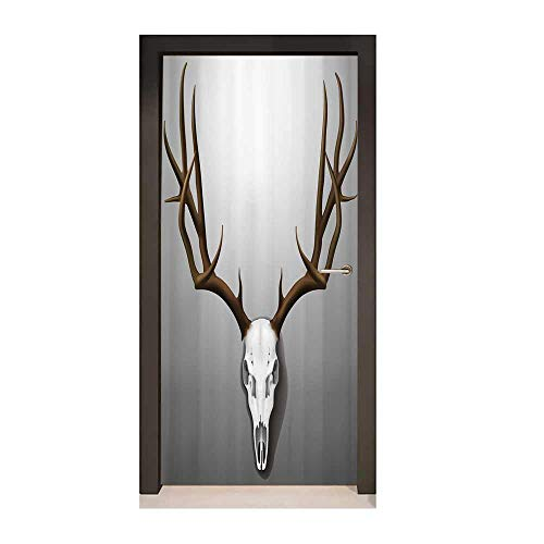Homesonne Antler Decor 3D Murals Wall Stickers Realistic Deer Skull with Large Horns Elk Skeleton on Abstract Backdrop Door Creative Decoration Brown White Grey,W17.1xH78.7]()