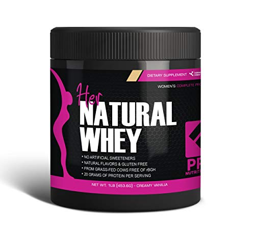 Protein Powder For Women - Her Natural Whey Protein Powder For Weight Loss & To Support Lean Muscle Mass - Low Carb - Gluten Free - rBGH Hormone Free - Naturally Sweetened with Stevia - Designed For Optimal Fat Loss (Creamy Vanilla) - Net Wt. 1 LB (Best All Natural Whey Protein Powder)