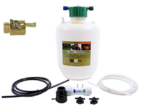 EZ Flo 3/4 Gallon Garden Hose Fertilizer Injector 2005-HB with Brass Garden Hose Shutoff Valve (Bundle, 2 Items)