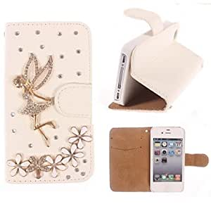MOM Rhinestone Handmade Bling Angel and Flower Design Leather Case for iPhone 4/4S