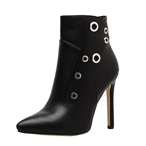 Harshiono Womens PU Leather High Heels Black Fashion Shoes Bootie lRgoS61f