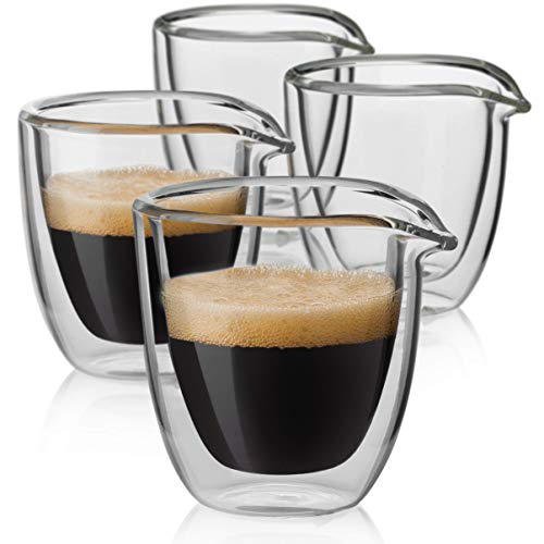 (Easy Pour Espresso Cups Set of 4 – Insulated Coffee Shot Glasses with Spout (2.6 oz))