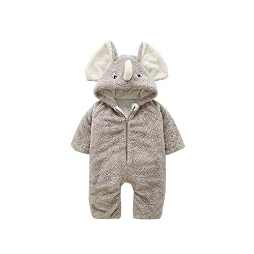 HROUEN Baby Winter Jumpsuit Warm Fleece Lined Romper Infant Unisex Thick Cartoon Elephant Hooded Snowsuit, Light Grey 12-18 Months