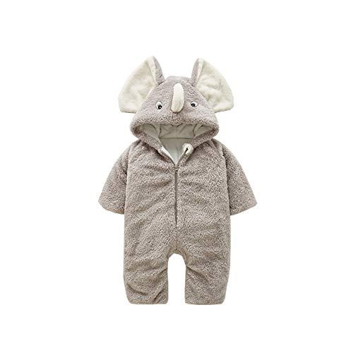 Hooded Snowsuit - HROUEN Baby Winter Jumpsuit Warm Fleece Lined Romper Infant Unisex Thick Cartoon Elephant Hooded Snowsuit, Light Grey 12-18 Months