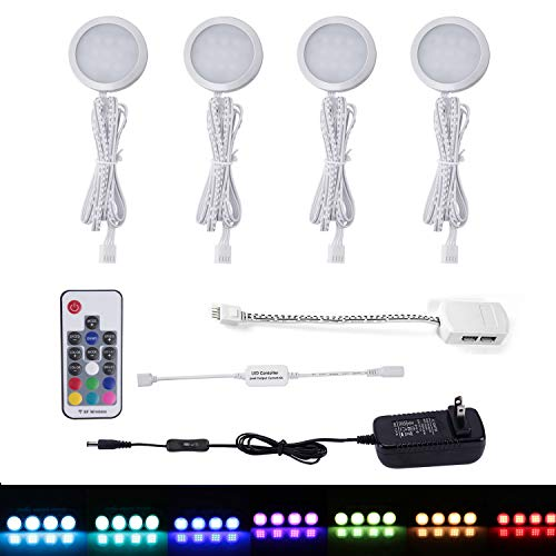 (AIBOO RGB Color Changing LED Under Cabinet Lights Kit, Aluminum Slim Multi Color Puck Lights for Kitchen Counter Furniture Holiday Ambiance Christmas Decor Lighting (4 lights))