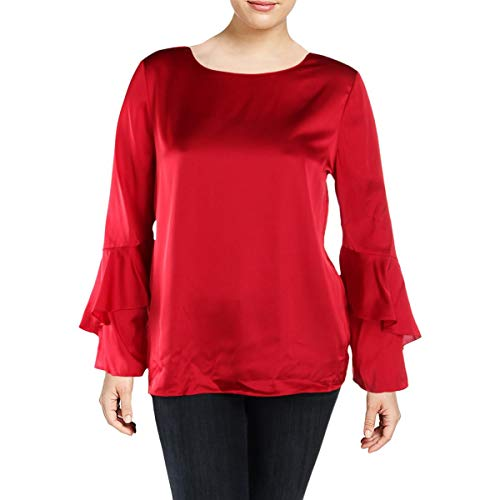 Tahari ASL Womens Charmeuse Boat Neck Blouse Red XL