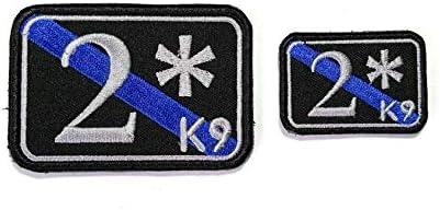 Parche B84 de dos culos a riesgo K9, línea azul fina, bordado moral, 2 unidades, 3 x 2 y 4,5 x 3 cm, con gancho en la parte trasera: Amazon.es: Hogar