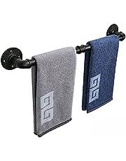 NearMoon Industrial Pipe Towel Bar, Heavy Duty Bathroom Hardware Towel Bar Accessory, Wall Mounted DIY Rustic Iron Bathroom Towel Rack Holder