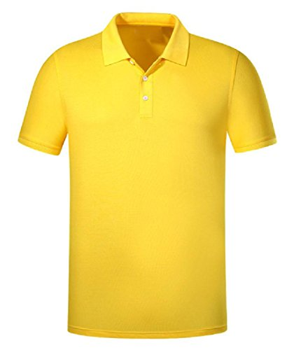 Winwinus Men's Regular Fit Pure Color Mercerized Cotton Jersey Polo Yellow - Polo Mercerized Jersey