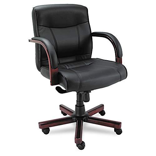 - Alera ALEMA42LS10M Madaris Series MidBack Knee Tilt Leather Chair w/Wood Trim, Black/Mahogany
