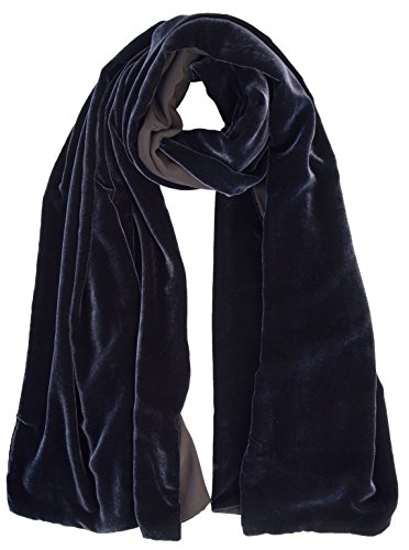 Elizabetta Womens Black Silk Velvet Evening Wrap Shawl - Made in Italy (Sophia Midnight Blue)