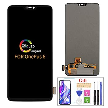 Image of Compatible with OnePlus 6 LCD Display Screen Replacement,for OnePlus 6 A6000 A6003 Display LCD Panel Repair Parts Kit,with Tempered Glass+Tools+Black Replacement Parts