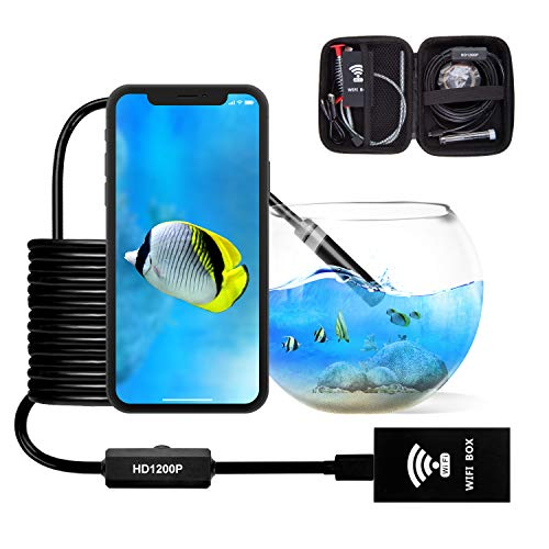 Wireless Endoscope Camera Snake Inspection Camera Semi-Rigid WiFi Borescope 1200P HD Waterproof Wireless Endoscope Camera for Iphone Android PC Mac by Austone (Black 16.4FT)