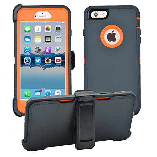 AlphaCell Cover Compatible with iPhone 6 Plus / 6S Plus (ONLY) | 2-in-1 Screen Protector & Holster Case | Full Body Military Grade Protection with Carrying Belt Clip | Shock-Proof Protective (Apple Iphone 6 And 6 Plus Comparison)