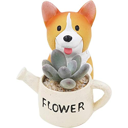 Youfui Cute Dog Flowerpot Animal Resin Succulent Planter Desk Mini Ornament (Crogi B)
