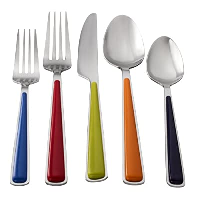 Fiesta 20-Piece Merengue Flatware Silverware Set, Service for 4, Stainless Steel/ABS, Includes Forks/Knives/Spoons, Multi - SILVERWARE SET INCLUDES: 4 lapis salad forks; 4 scarlet dinner forks; 4 lemongrass dinner knives; 4 tangerine dinner spoons; 4 cobalt teaspoons STAINLESS STEEL AND ABS: Made of durable 18/0 stainless steel heads with ABS plastic handles. This silverware set is built to last NEVER NEEDS POLISHING: It will come out of the dishwasher good as new for many years - kitchen-tabletop, kitchen-dining-room, flatware - 41EFVpT28jL. SS400  -