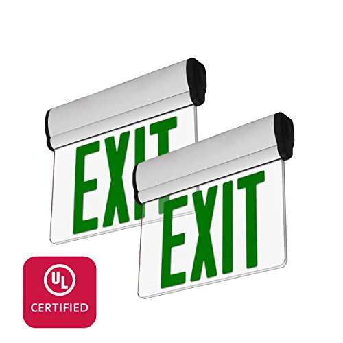 LFI Lights - 2 Pack - UL Certified - Hardwired Green LED Edge Light Exit Sign - Rotating Panel Battery Backup - ELRTGx2 - Edge Lit Led Exit Sign
