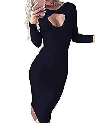 Allegrace Women Sexy Open Front Long Sleeve Stretch Bodycon Party Bandage Dresses