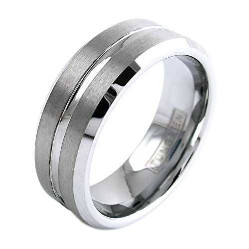 (Modern Silver Tungsten Ring w/ Satin Finish Band & Center Channel Stripe. Personalized Laser Engraving Included. (10))