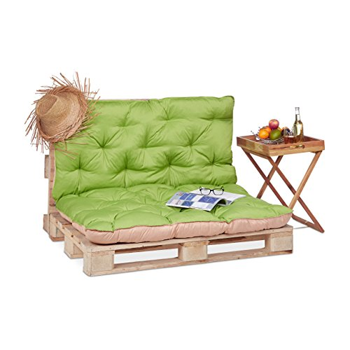 Relaxdays Garden Cushion, Large Bench Padding with Backrest, Green (Table Pallet Furniture Garden)