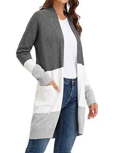 Women's Long Sleeve Soft Knit Sweater Open Front Cardigan Block Color-2 XL