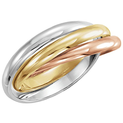 18k Yellow Gold, Rose, & Platinum Three-Band Rolling Ring - Size 12
