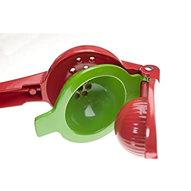 Red Manual Citrus Juicer - E4U Lemon Squeezer Press Bonus Lime Sprayer - Creates Fresh Fruit Juices