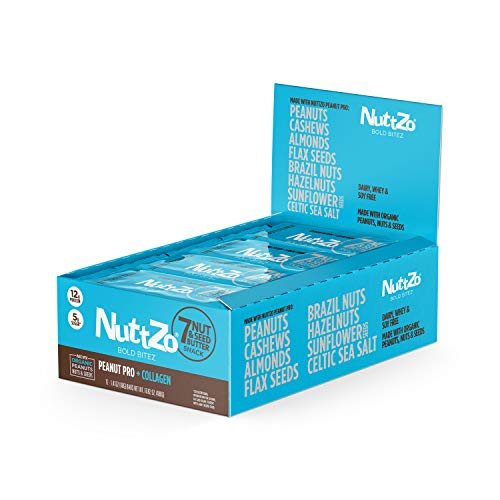 NuttZo Bold BiteZ Peanut Pro + Collagen Seven Nut & Seed Butter Protein Snack Bars, 1.41 Ounce (Box of 12) Non-GMO, Seed & Nut Butter Protein Bar