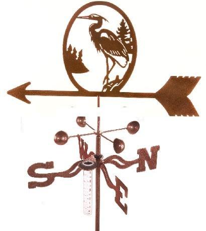 Made in the USA Heron Rain Gauge Garden Stake Weathervane
