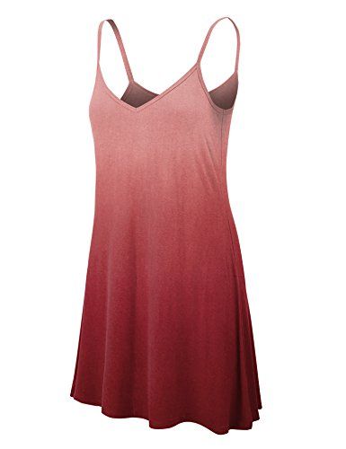 LL WDR1139 Womens V Neck Dip Dye Spaghetti Strap Tunic Short Dress S Wine