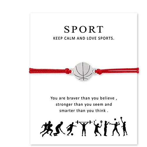 (Silver Ball Series Bracelets | Baseball Football Basketball Volleyball Hockeyball Adjustable Bracelets | Wax Rope Wish Card Bracelets)